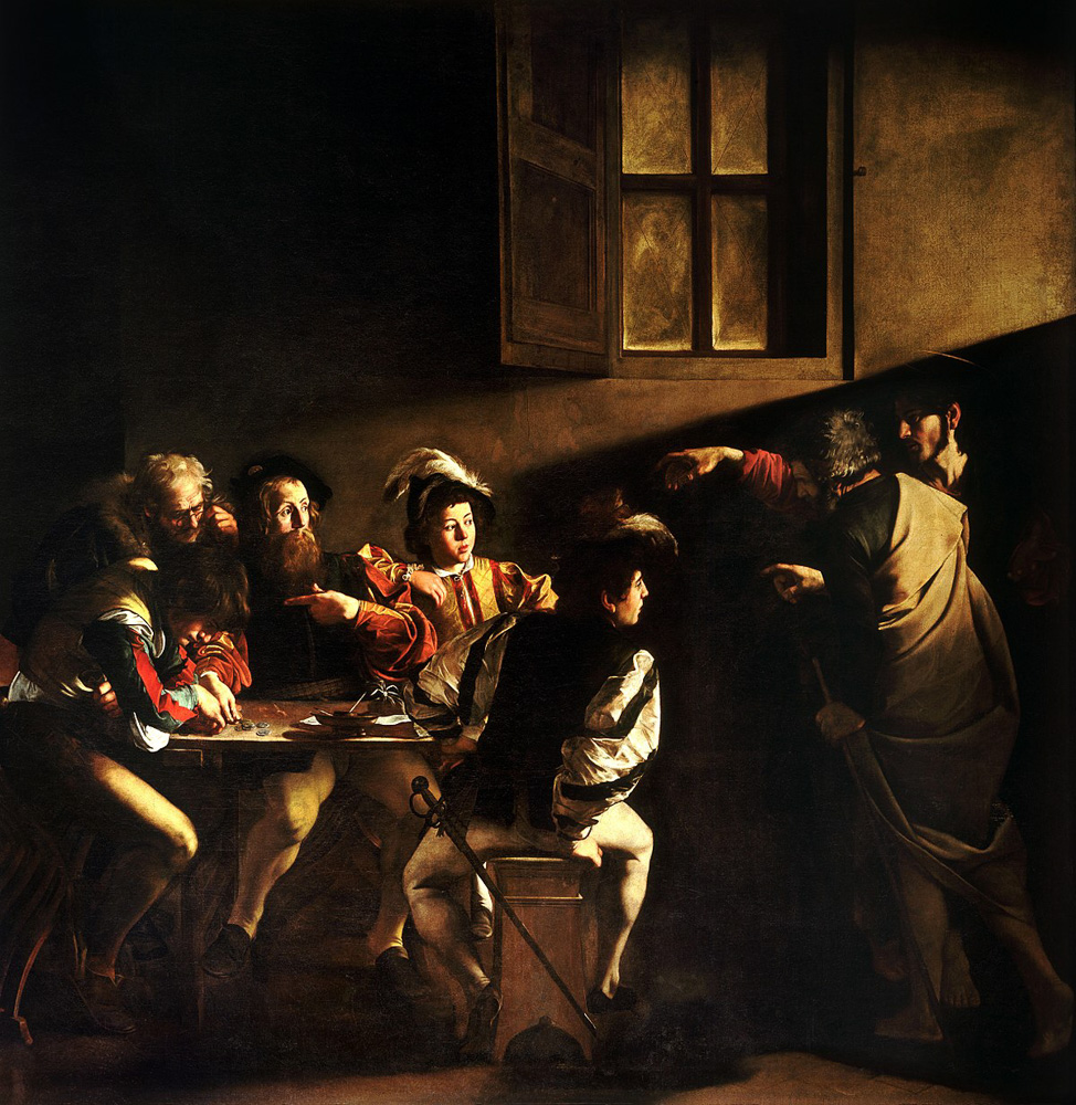"The usual vibrant reproduction of ""The Calling of St Matthew""."