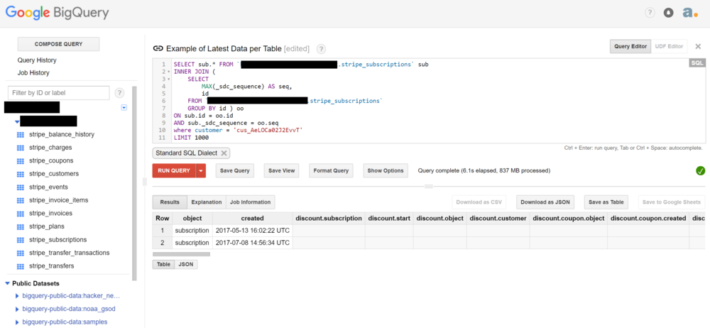 Figure            SEQ Figure \* ARABIC       5        : Google BigQuery – SQL Query Editor. Schema names have been redacted