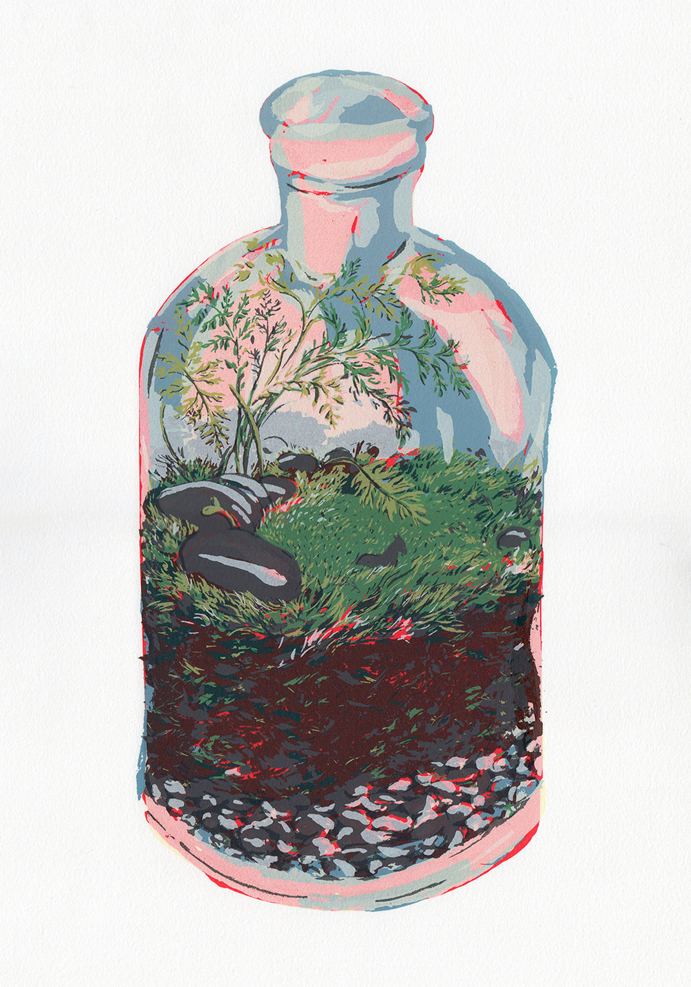 Screenprint on paper; a portrait of a terrarium, in the hopes of pushing the boundaries that a silkscreen imposes.