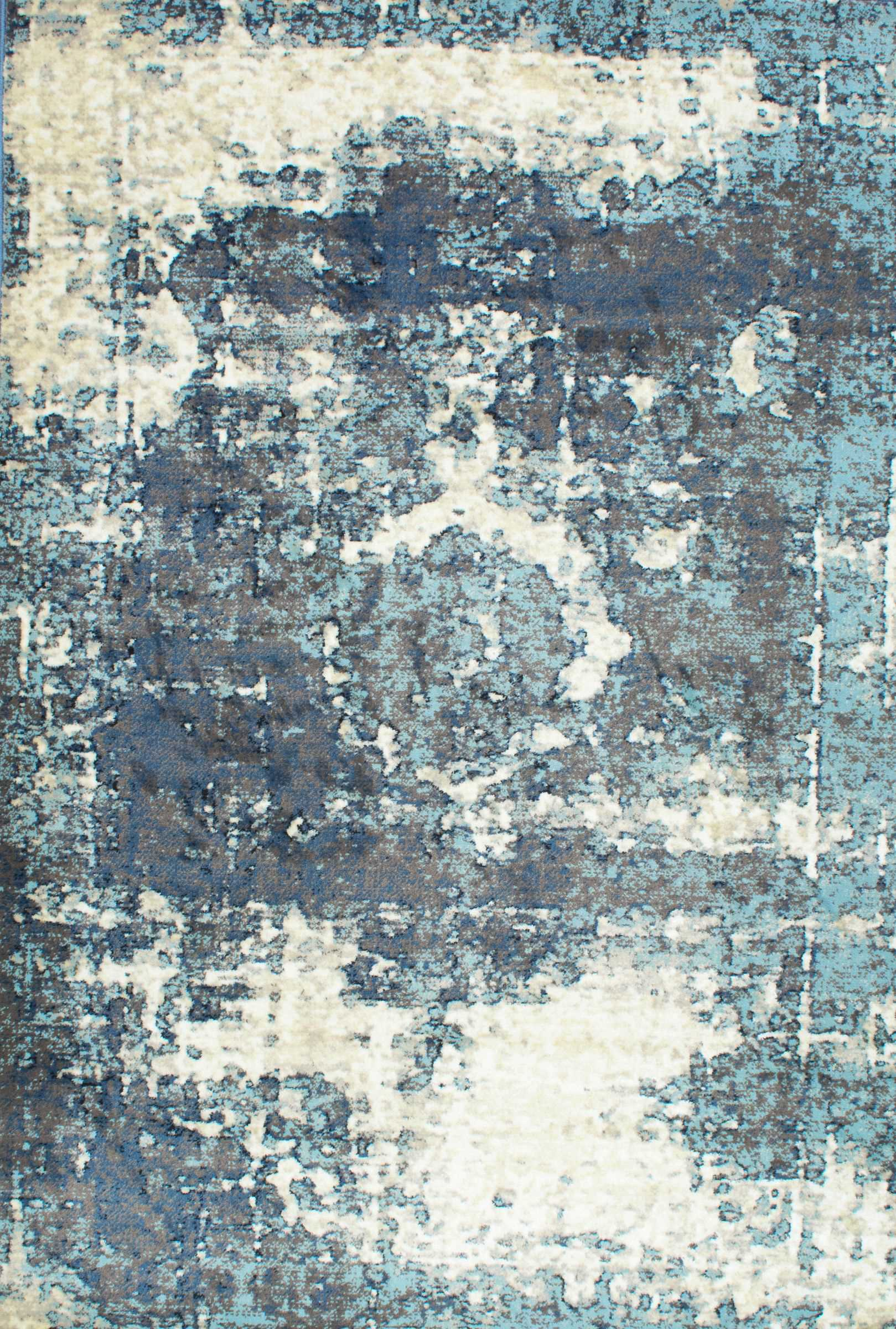 RugsUSA Blue Distressed Medallion Rug