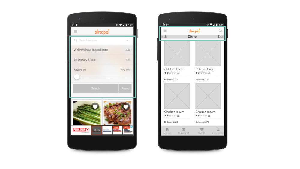 "Original screen (left) vs. wireframe of redesign. The original app's search function happens on clicking the arrow in the ""search recipes"" bar and users see three primary options to search by. We changed the search bar into a simple icon and added the page slider at the top so users can slide through common searches (Dinner, Snacks, Favorites, etc.) and update the feed."