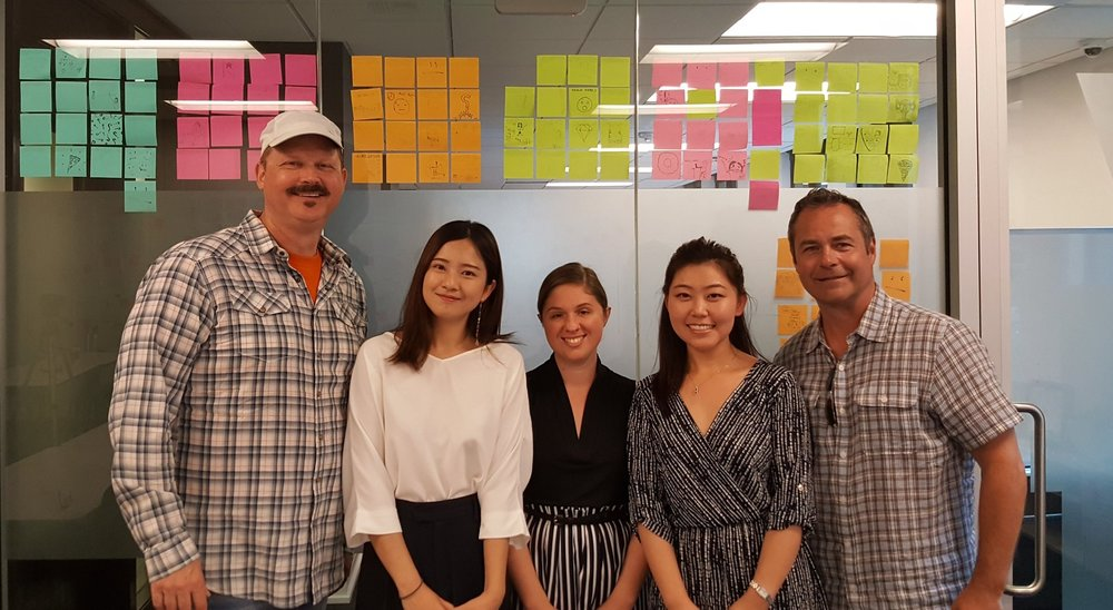 My team with our client. From Left: Dave Landis (UX Mentor), Sijia Li, Myself, JJ Zhao, Scott Craig (CEO)