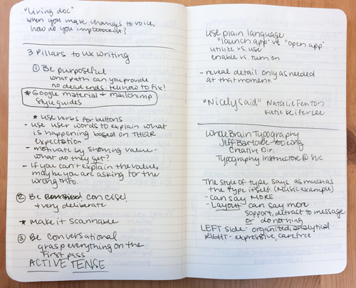 3 Pillars to UX Writing - My Notes from the session