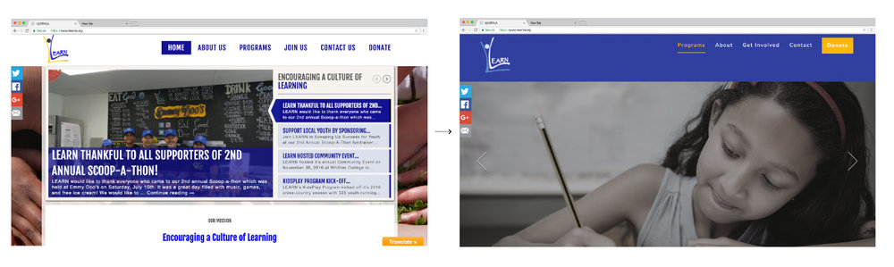 Home page before (left) and after (right)