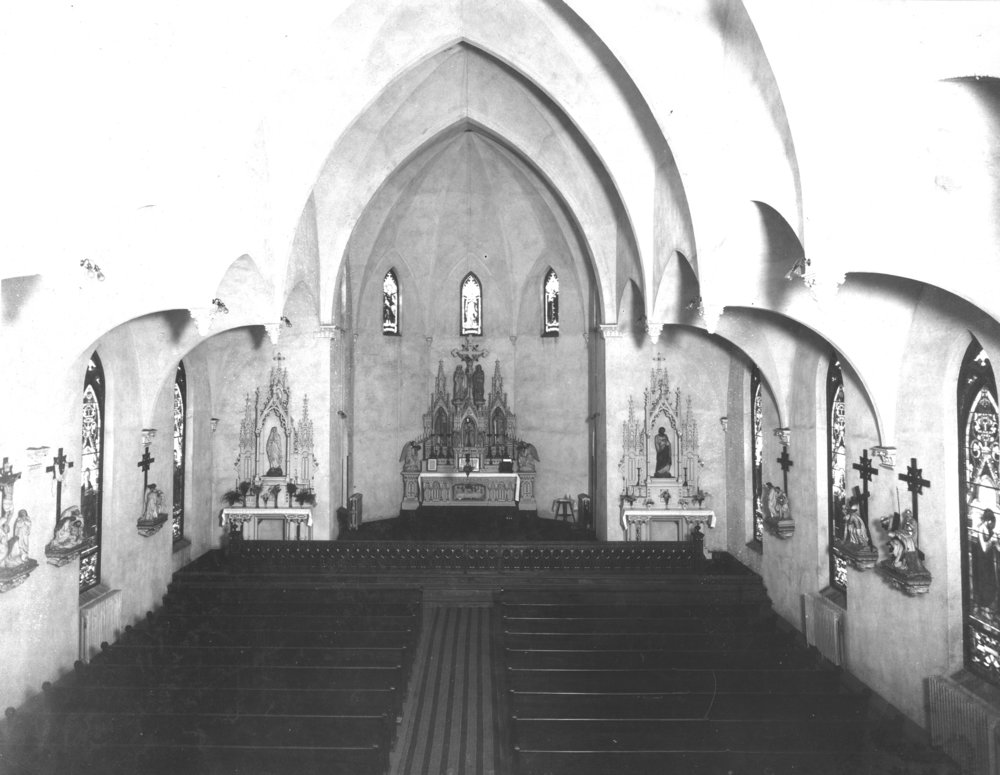 Interior of Our Lady of Lourdes Church upon completion in 1907