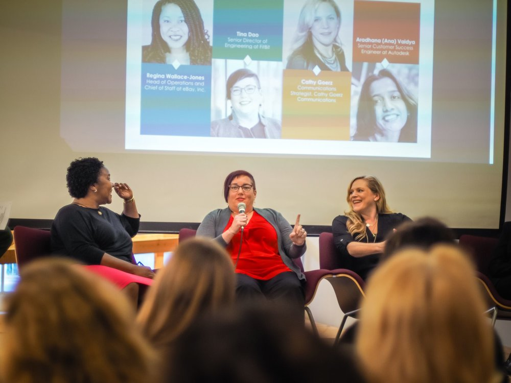 Tina speaks on a panel at Women in Tech at Impact Hub in San Francisco.