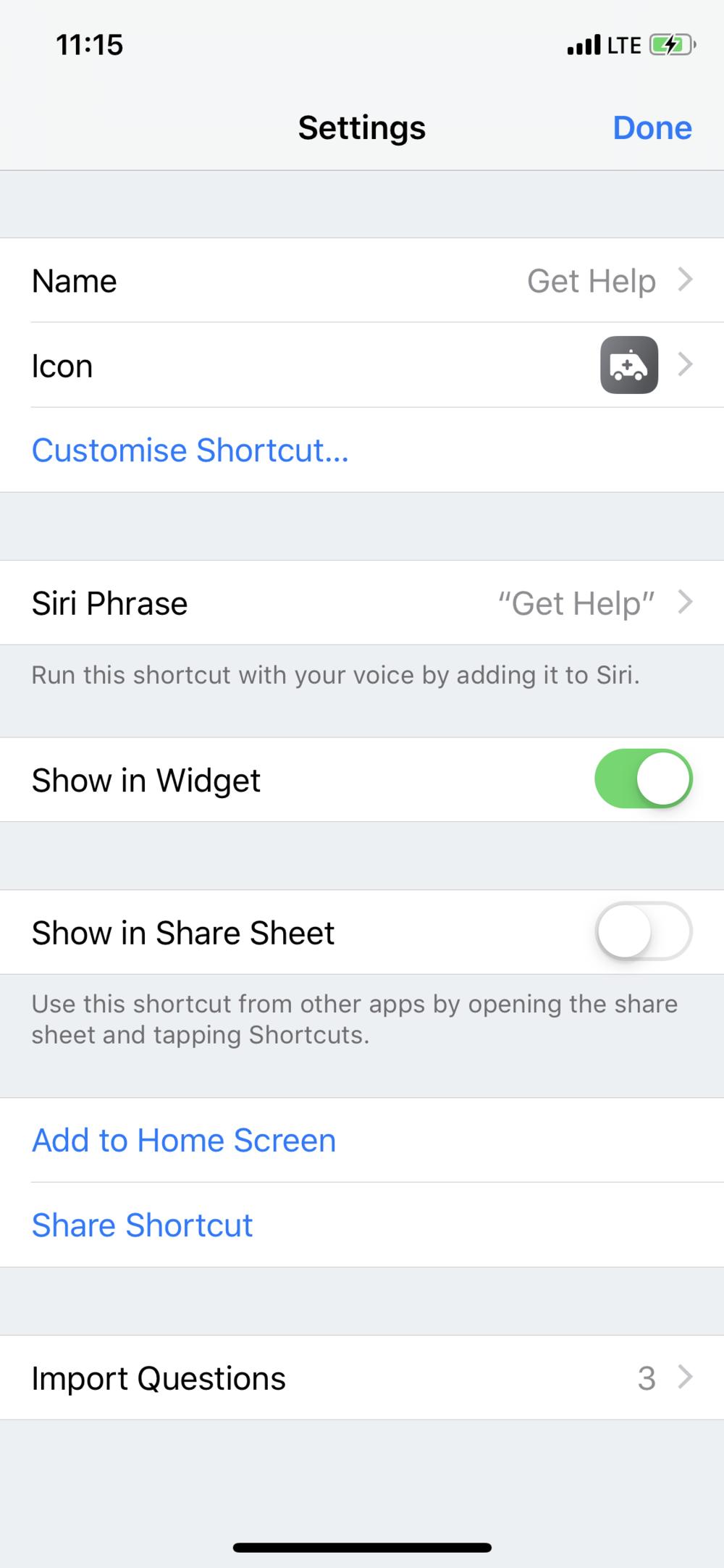 Siri Shortcuts Shortcut Settings