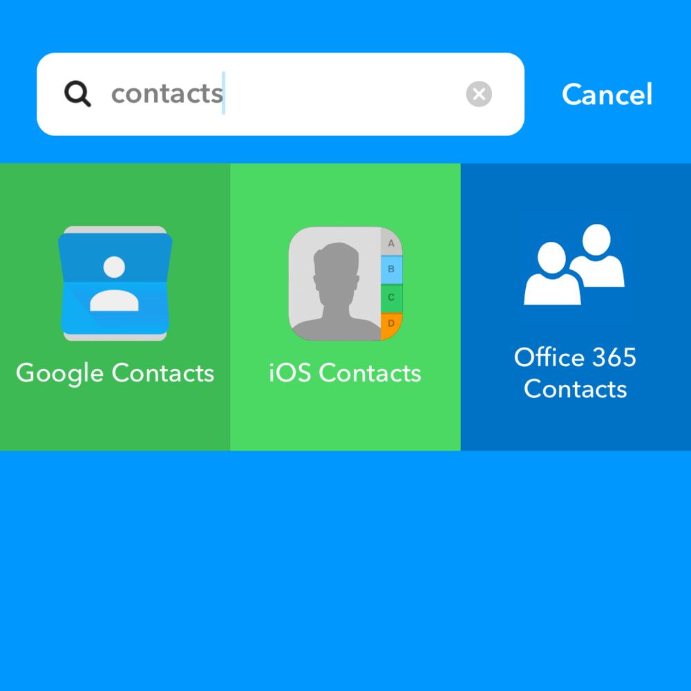 IFTTT Contact Options
