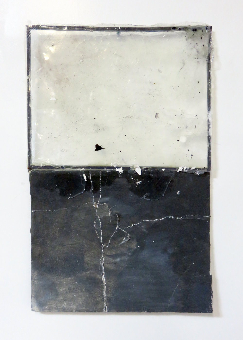 Puncture (II) , 2014  acrylic polymer, plaster, metal frame  10 x 22""