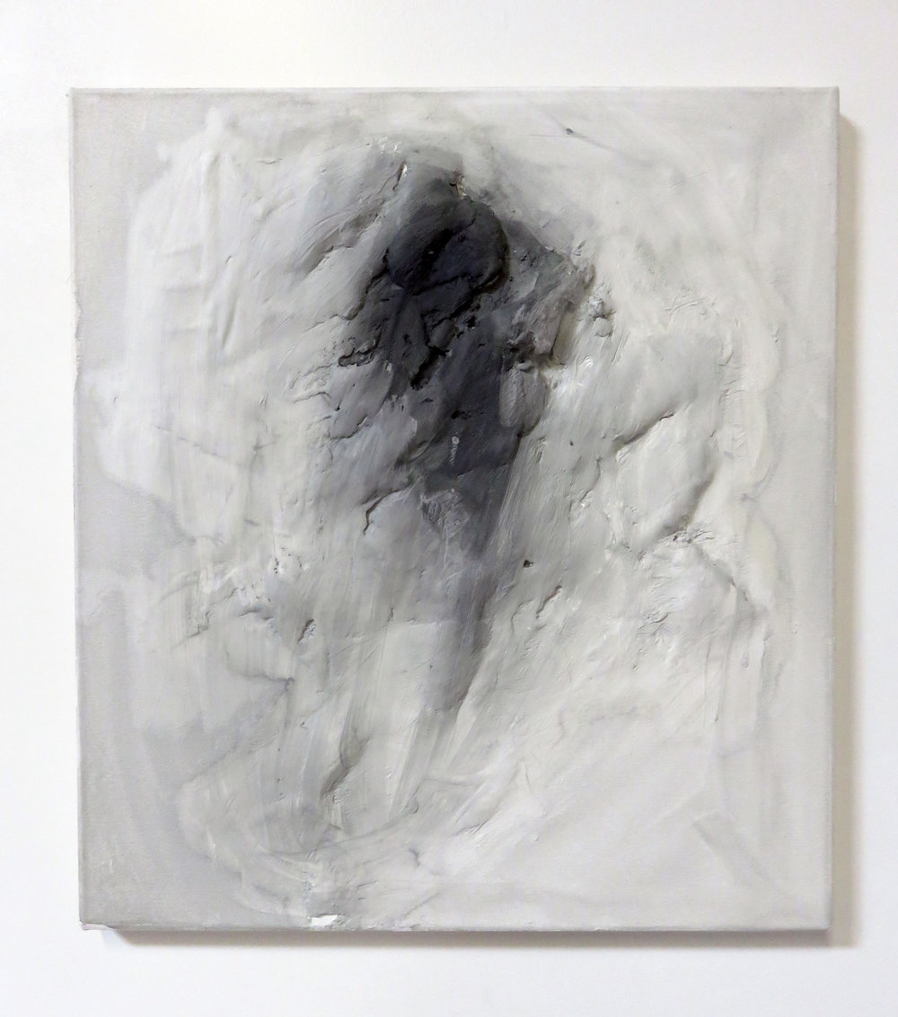 "Portrait (II), 2015  plaster, acrylic, canvas  18 x 20"""