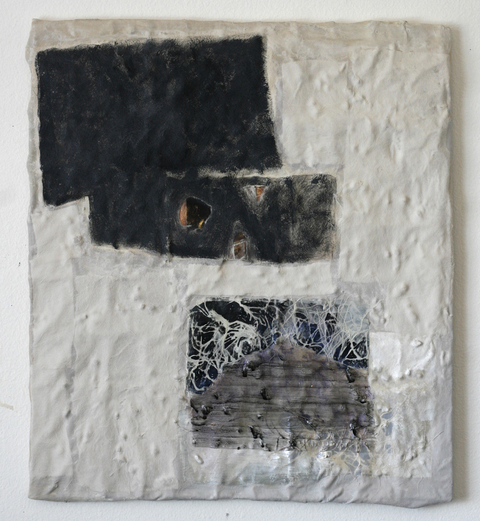 "Nueralia, 2013  resin, fiberglas, acrylic, stones  26 x 23"""