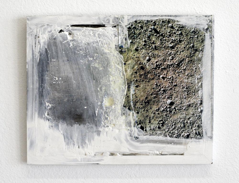 "Walk , 2015  acrylic, polymer, plaster,prints  8 x 10"""