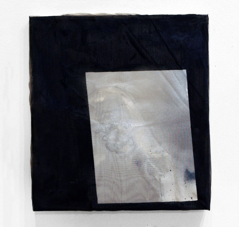 Untitled, 2011  wood, paper, spray paint, fabric  13 x 11""