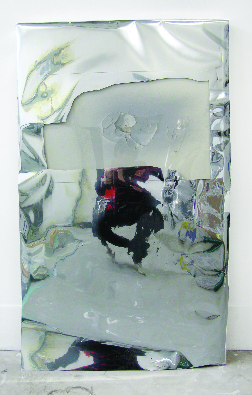 Puncture , 2011  mdf, mylar, spray paint, plexi glas  24 x 39""