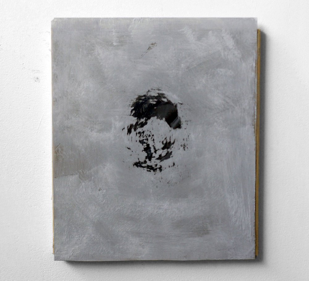 Untitled, 2010  latex sheet, plexi glas, oil  10 x 12""