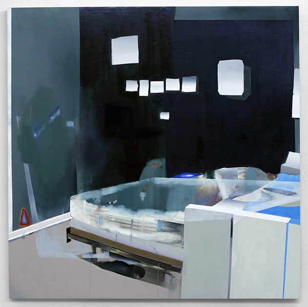 "Bedroom and images/mirrors,  2008  oil on wood  48"" x 48"""