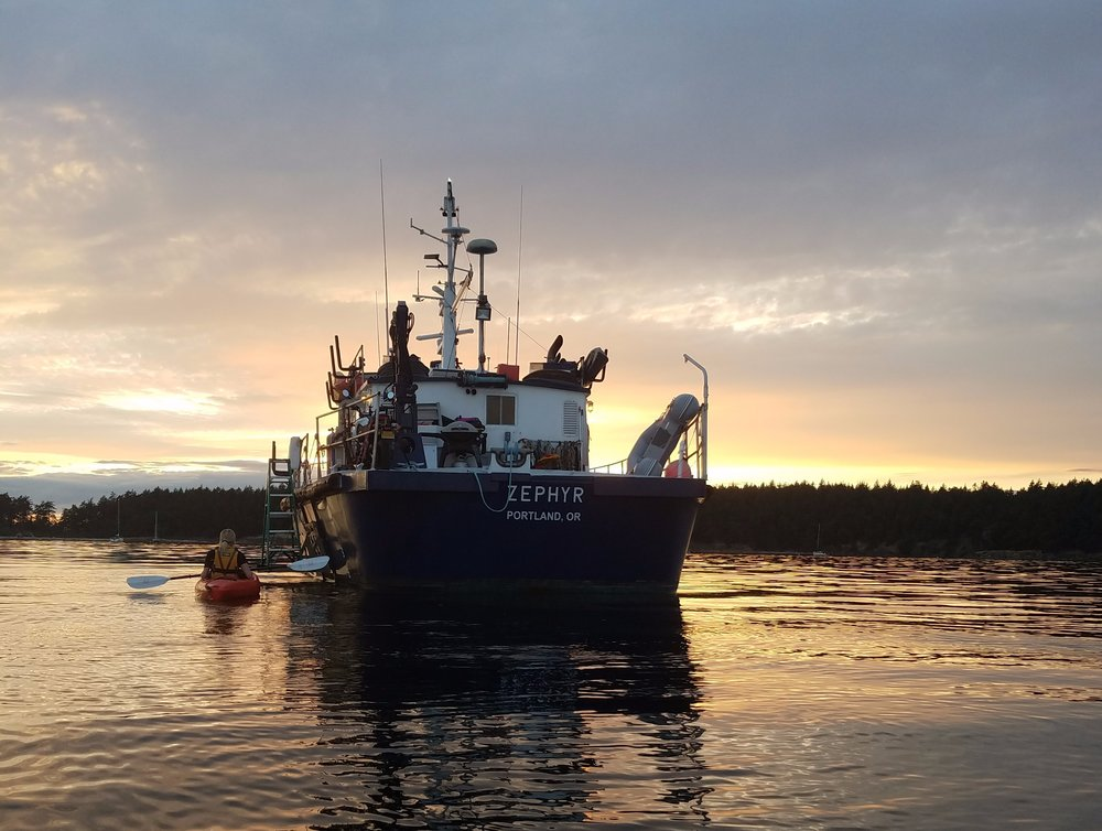 R/V Zephyr at sunset on Sucia Island.