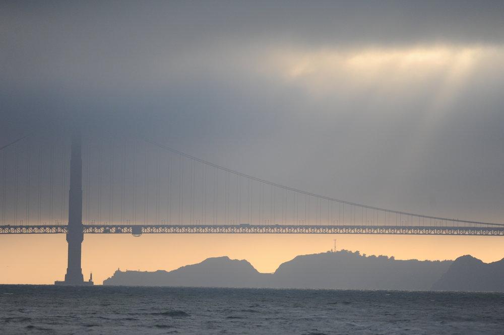 Weird lighting inside the Golden Gate Bridge.