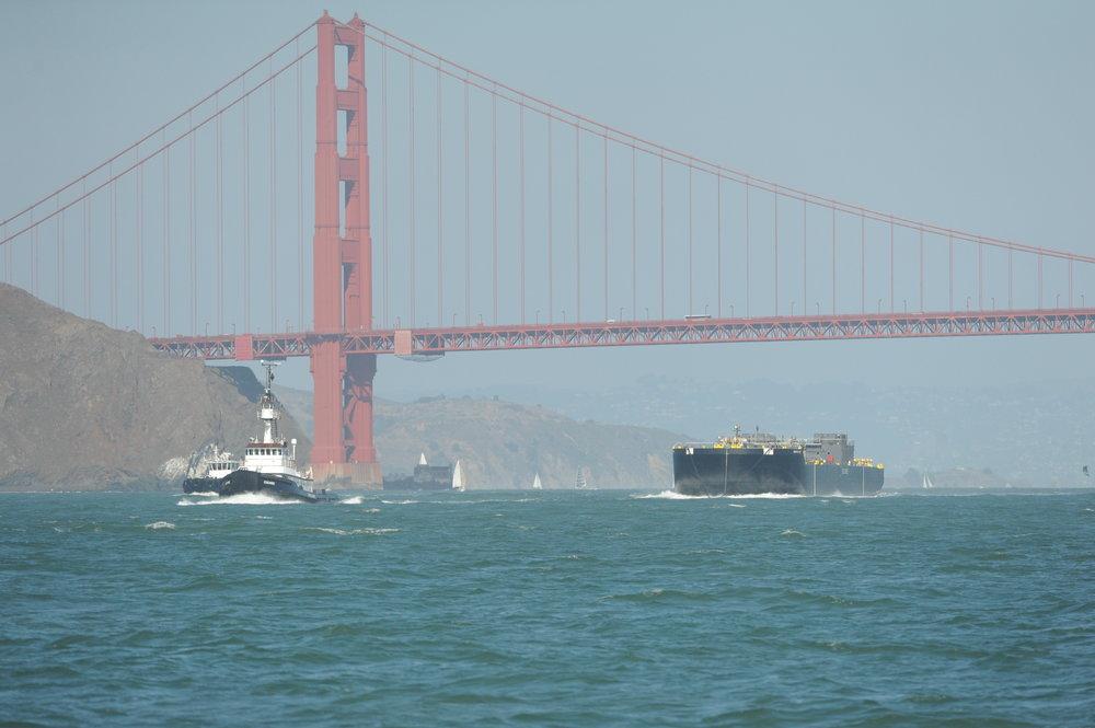 Tug with barge.