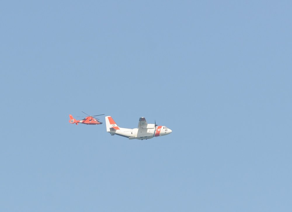 Coast Guard planes engaged in training maneuvers.