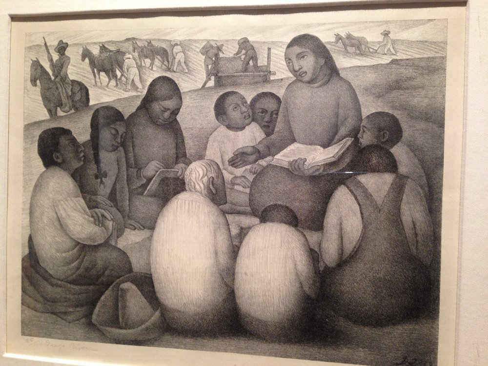 "Diego Rivera's lithograph ""La Escuela de Aire Libre (Open Air School), 1932. Photograph taken at The Frida Kahlo Museum in Coyoacan by Dayamudra Ann Dennehy"