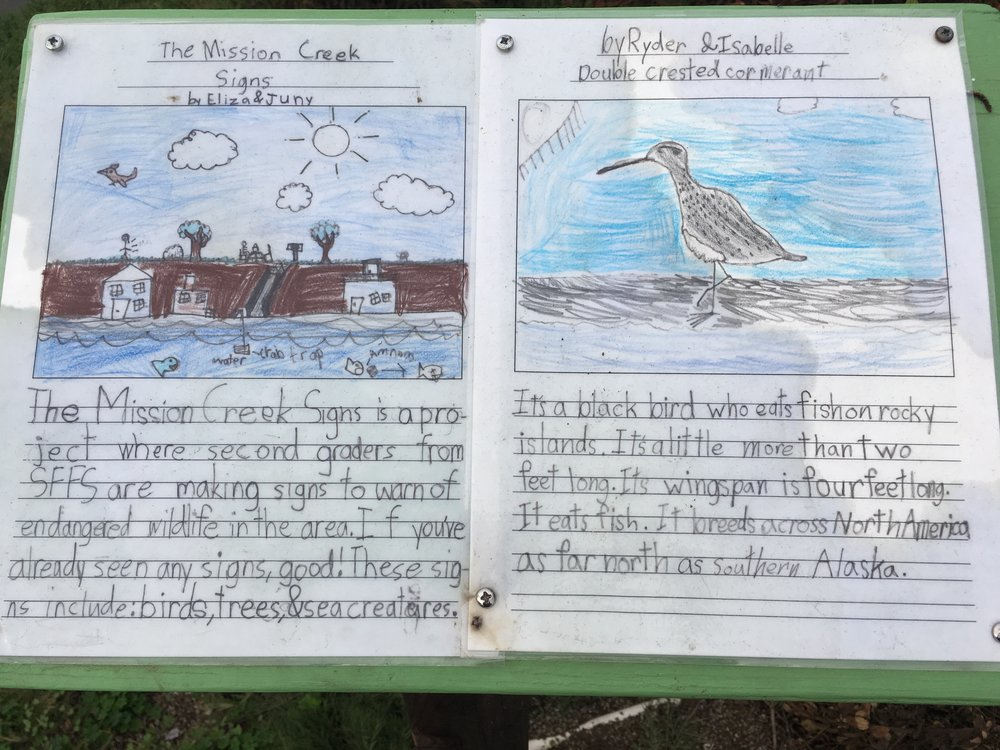 Mission Creek signs by children in the local elementary school. Photo by Dayamudra Ann Dennehy.