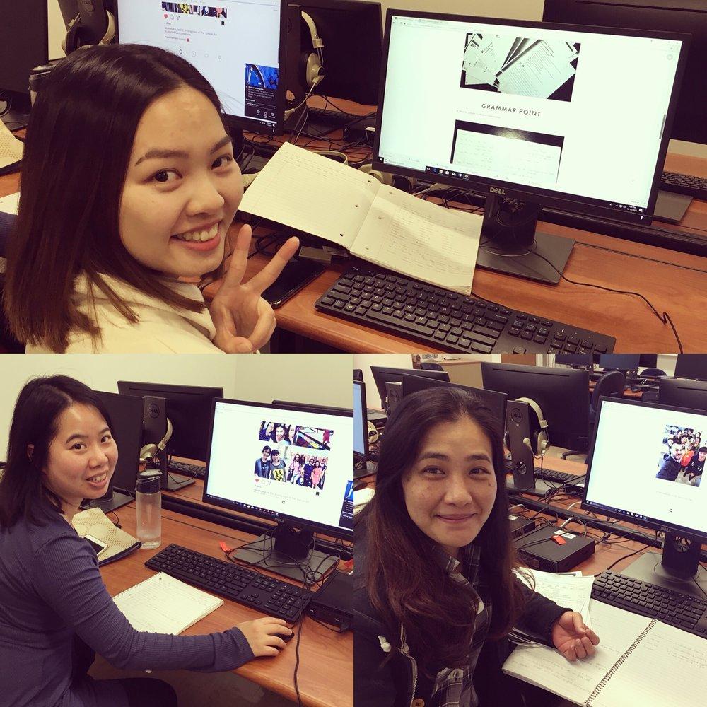 Students making final portfolios using Adobe Spark