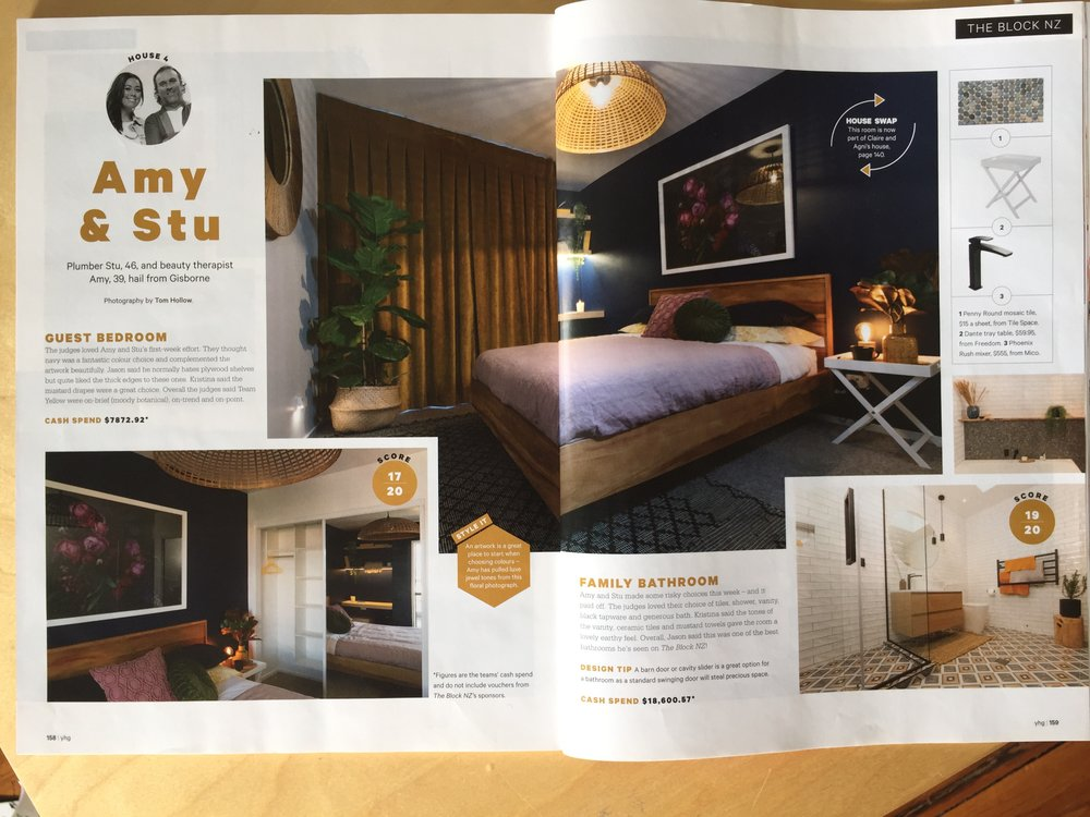 """The Block NZ (TV3) Winning home 2018. """"Cor Meum"""" was featured in the guest bedroom, and """"Mollis"""" in the lounge."""