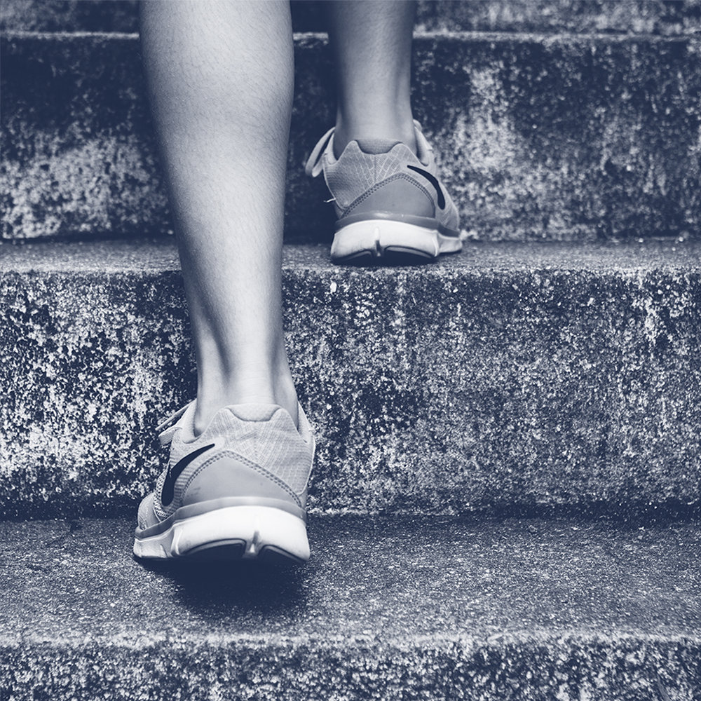 Corporate training. Stairs. Exercise. Health.