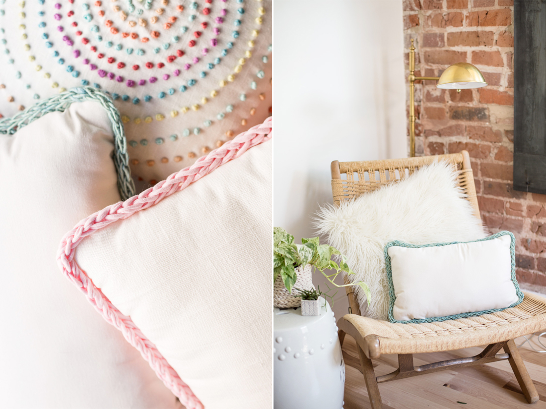 KOEL Stories | Knit A Therapy: DIY Finger Knitting Trimmed Pillows with Anne Weil