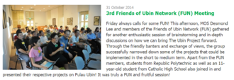 Members of Friends of Ubin Network (FUN) met with MOS Desmond Lee to brainstorm ideas for furthering the Ubin Project.