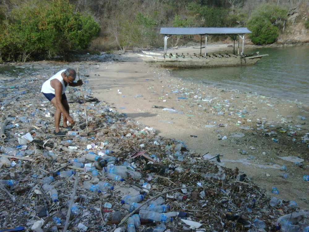 Plastics litter Flores' coastline. Photo courtesy of Stefan Rafael.