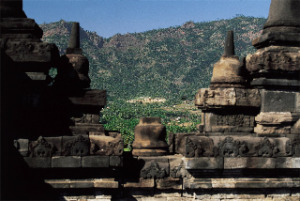 A view of Amanjiwo from Borobodur