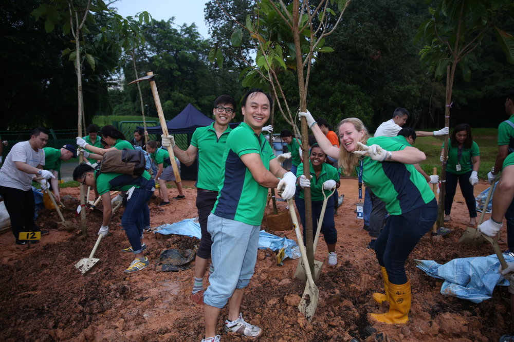 AkzoNobel staff planting 51 trees in total as a celebration of Singapore's 51st birthday.
