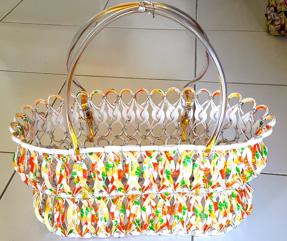 Basket made from plastic drink containers (Image by Pridmore)