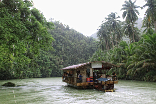 A floating restaurant along the river