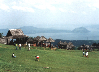 Taal volcano in the distance.
