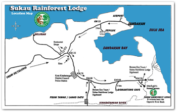 Map of Sukau Rainforest Lodge