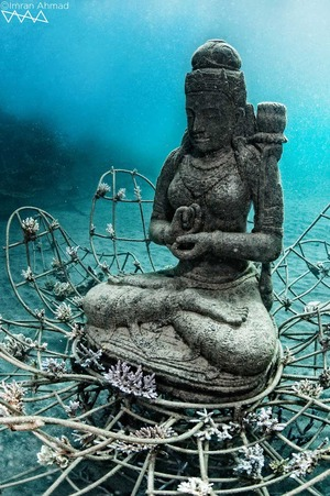 The Coral Goddess is Celia Gregory's underwater art sculpture in Bali depicting beauty and serenity