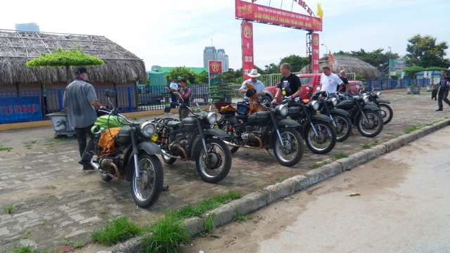 Allan Nash and Tommy Soderstrom in Vietnam in preparation for the ride, with bikes more basic than the BMW 1200 GS they will use in Australia