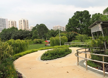Bishan Ang Moh Kio garden uses a special figure eight layout as part of its calming design.