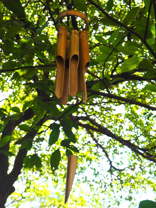 Bamboo wind chimes at Hort Park add to the calming atmosphere.