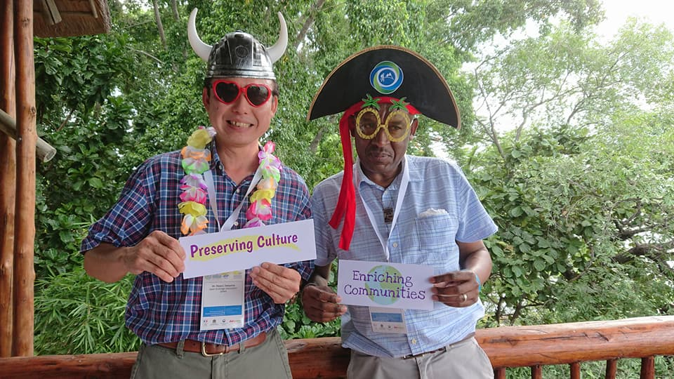 Masaru Takayama and Mafila Richard Malesu from Botswana reinforce core values of ecotourism