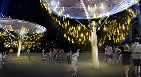 Chandelier of Spirits at i Light Marina Bay 2018 reuses glass bottles in art installation. Image courtesy of Living Spirits.