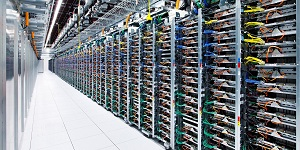 Some data centres have tens of thousands of computer servers running 24 hours a day. Photo courtesy Apple.