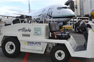 Some airports are using electric vehicles to cut emissions. Courtesy Alaska Airlines.
