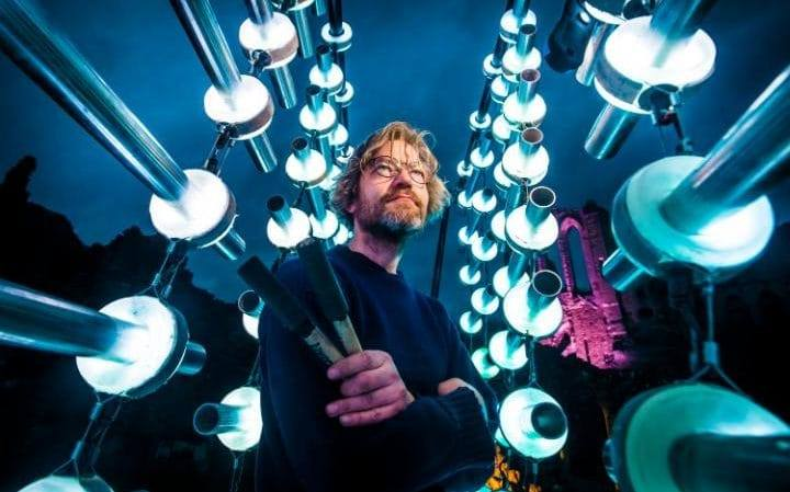 Michael Davis experiments with materials that are bio-based and reuseable metal in Illumaphonium. Courtesy of Press Association 2017