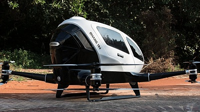 The eHang 184 can fly on its own, remotely controlled, or be flown by the pilot. Courtesy eHang.