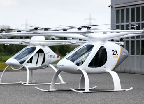 -           Dubai is already trialling Volocopter air taxis with live passengers. Courtesy Volocopter.