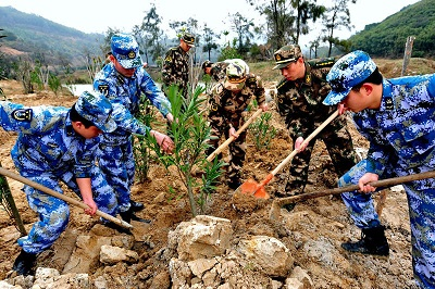 China's Army is being used to help plant millions of new trees. Courtesy China Daily.